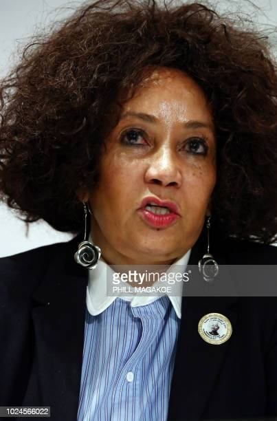 South African Minister of International Relations and Cooperation Lindiwe Sisulu give a press briefing at The OR Tambo Building in Pretoria on August...
