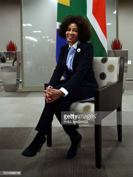 South African Minister of International Relations and Cooperation Lindiwe Sisulu poses during an interview with AFP at The OR Tambo Building in...