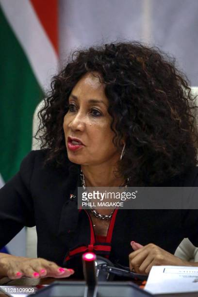 South African Minister of International Relations and Cooperation Lindiwe Sisulu gives a joint press conference with French Minister of Europe and...