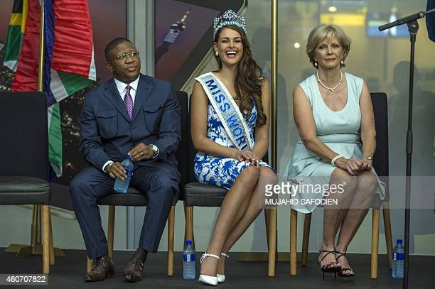 South African Minister of Sport and Recreation Fikile Mbalula, South African born Rolene Strauss, the newly crowned Miss World 2014, and South...