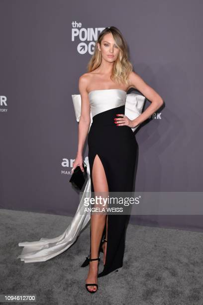 South African model Candice Swanepoel arrives to attend the amfAR Gala New York at Cipriani Wall Street in New York City on February 6 2019