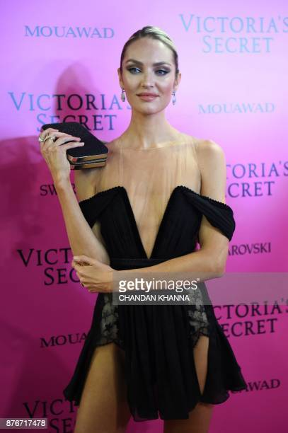 South African model Candice Swanepoel poses as she arrives for the after party of the 2017 Victoria's Secret Fashion Show in Shanghai on November 20...