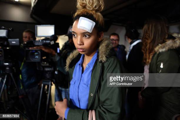 South African model Gabriella Engels allegedly assaulted by Zimbabwe First Lady Grace Mugabe arrive for a press conference at the civil rights...