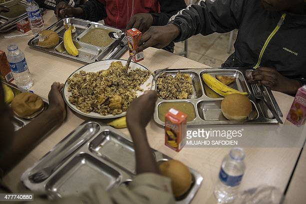 South African Mulsims break thier fast on the first Friday of the month of Ramadan at the Turkish Nizamiye Masjid Mosque in Midrand Johannesburg on...