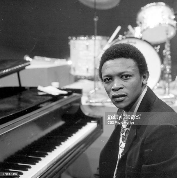 South African musician Hugh Masekela sits at a piano on an episode of the television program 'Dial M for Music' May 25 1968