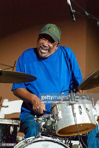 South African musician Louis Tebogo Moholo plays drums at the Vision Festival XII 'The Revolution Continues' concert at the Angel Orensanz Foundation...