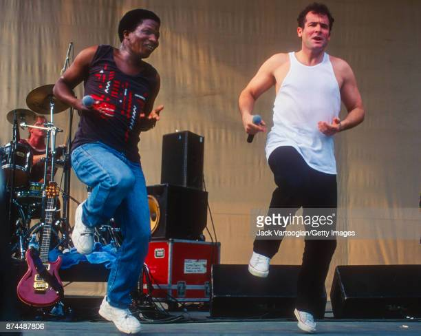 South African musicians Sipho Mchunu and Johnny Clegg perform with their band Juluka at Central Park SummerStage New York New York July 14 1996