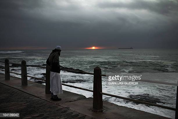 A South African muslim attempts to spot the new moon that would mark the end of the fasting month of Ramadan and the starting of the Eid al Fitr...