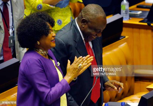 South African National Assembly speaker Baleka Mbete applauds former South African Deputy president Cyril Ramaphosa during a session at the...