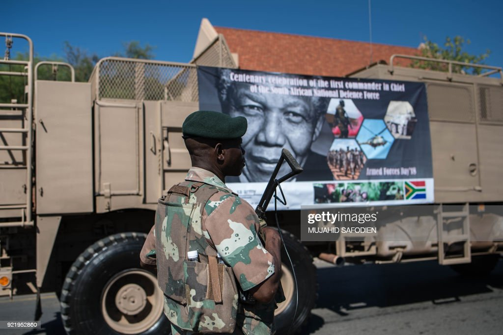 South African National Defense Force (SANDF) take part in a day of Armed Forces on February 21, 2018 in Kimberley, South Africa. /