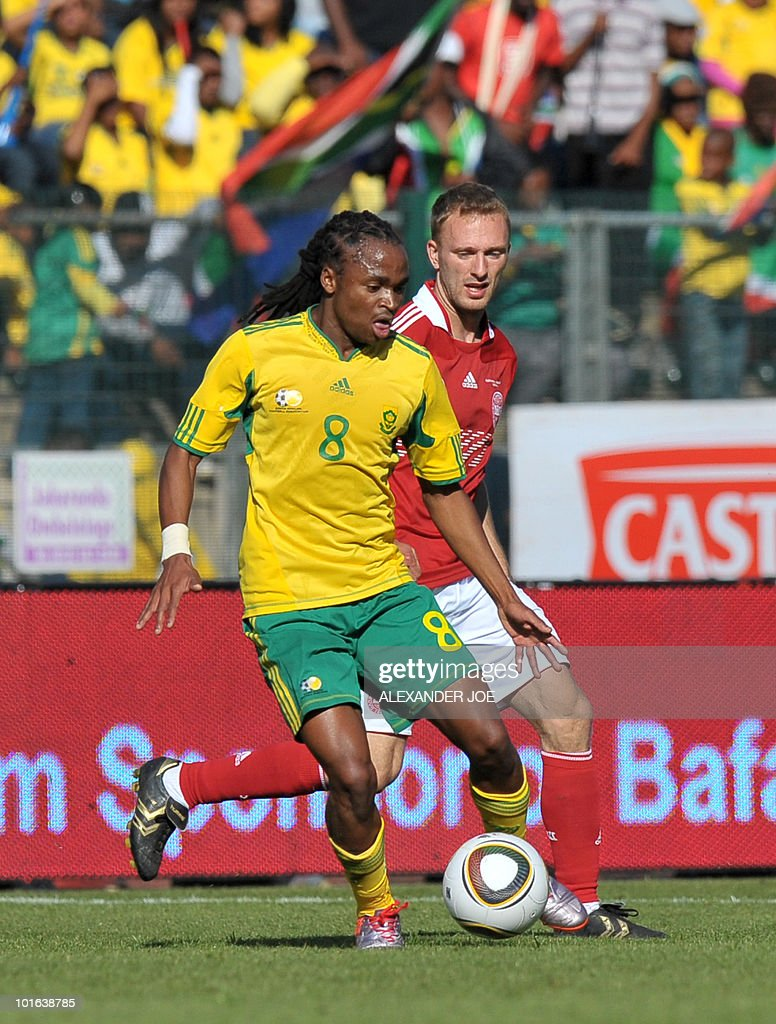 South African national football team midfielder Siphiwe Tshabalala (L) fights for the ball with Denmark's Thomas Kahlenberg during their friendly match at Super Stadium in Pretoria on June 5, 2010 ahead of the FIFA 2010 World Cup in South Africa.