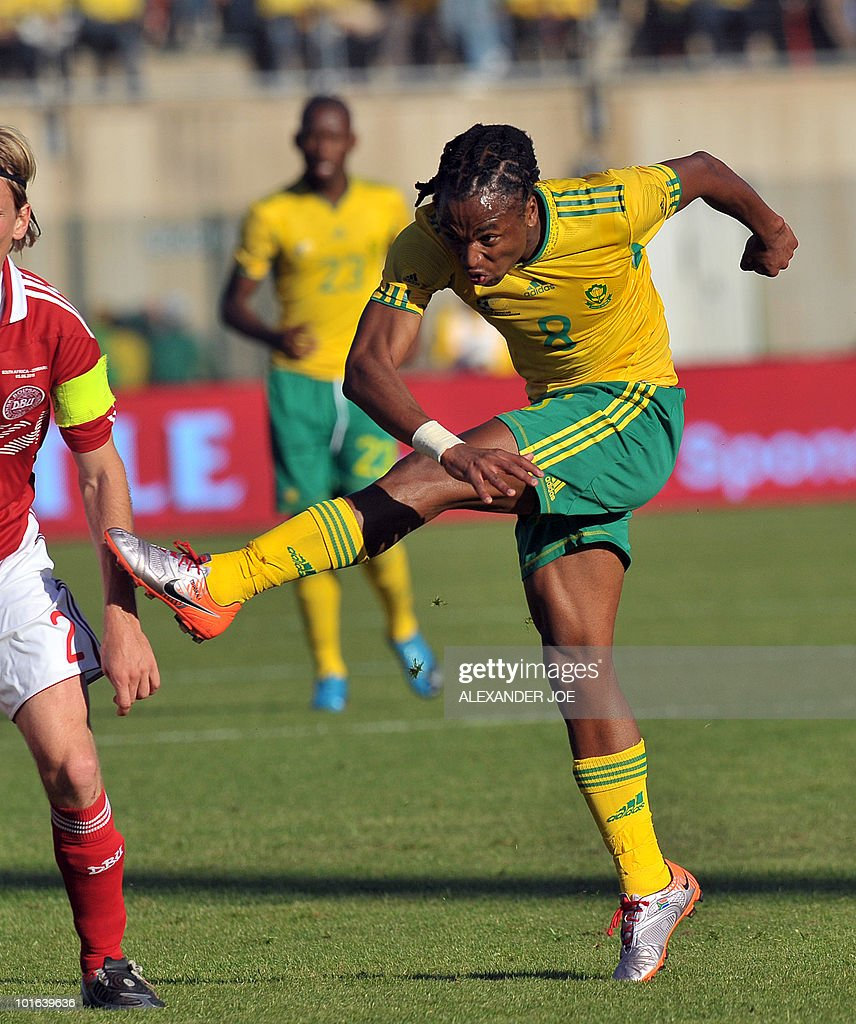South African national football team Midfielder Siphiwe Tshabalala kicks the ball during a friendly match against Denmark at Super Stadium in Pretoria on June 5, 2010 ahead of the FIFA 2010 World Cup in South Africa. AFP PHOTO / ALEXANDER JOE Striker