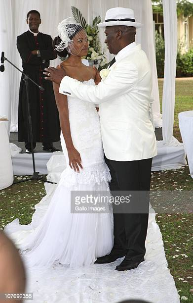South African National Police Commissioner Bheki Cele and his new wife Thembeka Ngcobo at their wedding held at the elite Lynton Hall Estate on...
