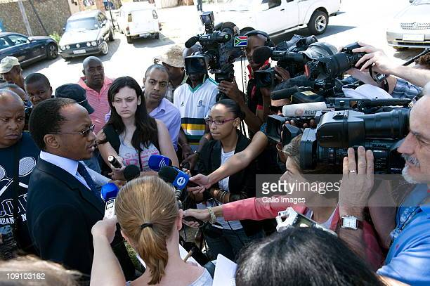 South African National Prosecutor Agency's Prosecutor Mthunzi Mahaga speaks to the media after Brian Roach a 64yearold South African businessman was...