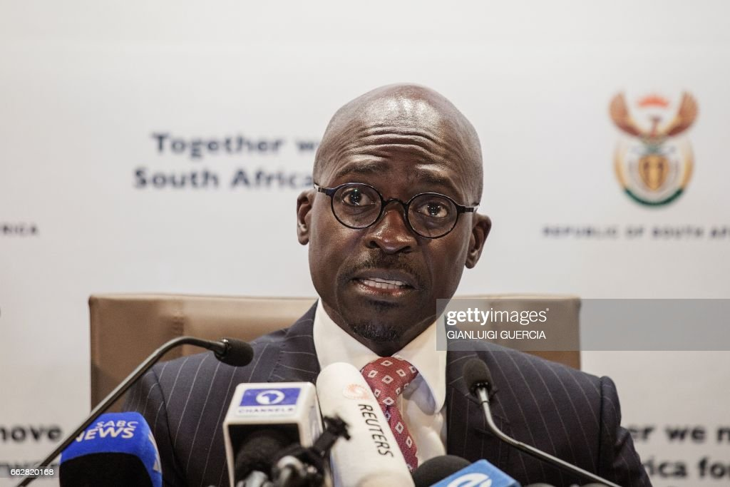 South African newly appointed Finance Minister Malusi Gigaba briefs the Press at the South African government Communication's office on April 1, 2017 in Pretoria, South Africa. South African President Jacob Zuma's sweeping cabinet overhaul exposes deep divisions between the ANC's apartheid-struggle old guard and a new generation often accused of not living up to expectations. Malusi Gigaba, 45, who replaced Pravin Gordhan, 67, as finance minister is a fervent Zuma loyalist always ready to defend the president despite corruption scandals and mounting legal troubles. GUERCIA