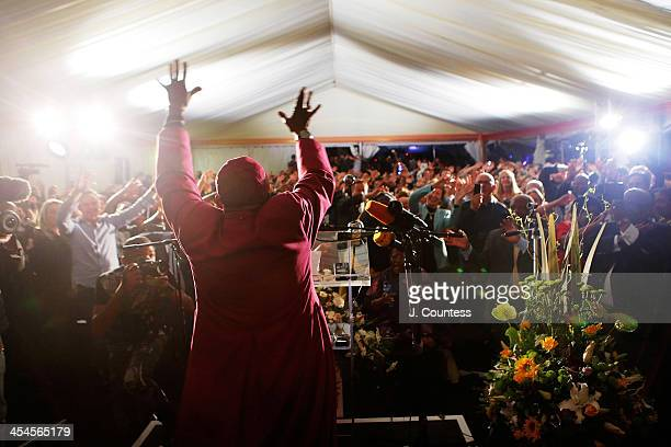 South African Nobel laureate Archbishop Desmond Tutu speaks at a memorial service for Nelson Mandela at the Nelson Mandela Centre of Memory in...