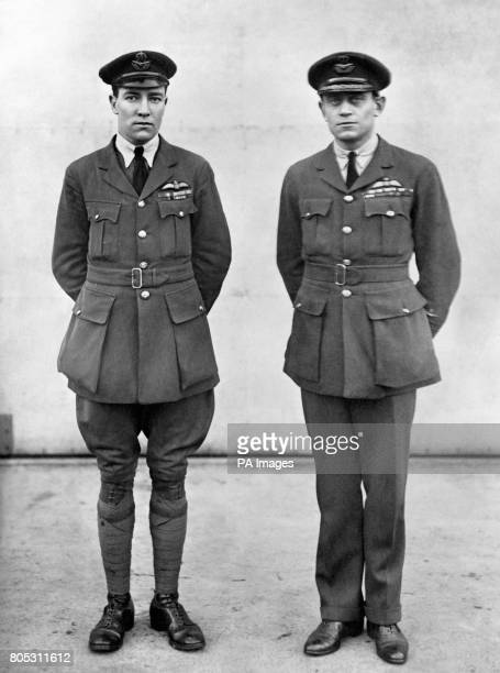 South African officers of the Royal Air Force Lt Col Hesperus Andrias van Ryneveld with First Lt Quinton Brand before setting out on a England to...
