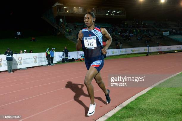 South African Olympic 800m champion Caster Semenya competes in the 1500m senior women final at the ASA Senior Championships at Germiston Athletics...