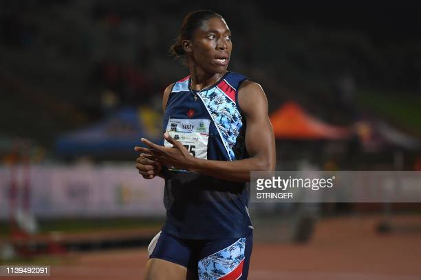 South African Olympic 800m champion Caster Semenya looks on after running the 1500m senior women final at the ASA Senior Championships at Germiston...
