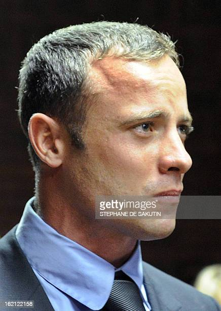 South African Olympic sprinter Oscar Pistorius appears on February 19, 2013 at the Magistrate Court in Pretoria. Pistorius battled to secure bail as...