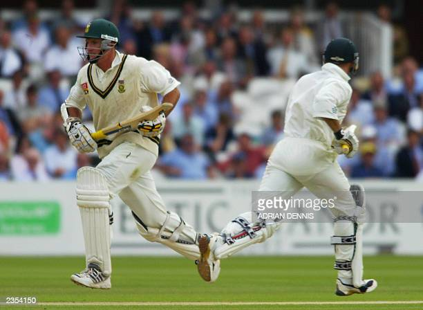 South African opening batsman Graeme Smith and Herschelle Gibbs runs between the wickets during the first innings of the second test against England...