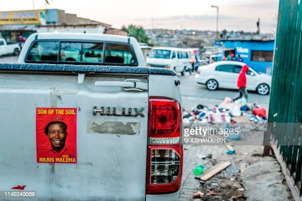 A South African opposition political party Economic Freedom Fighters sticker is pasted on to the vehicle in the run up to elections on April 28 2019...