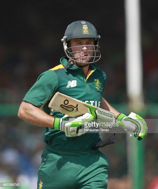 South African player AB de Villiers in action during the first One Day International match between India vs South Africa at Green Park Stadium, on...