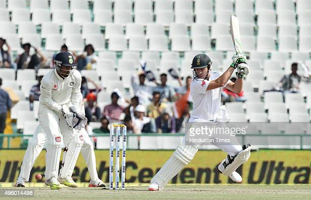 South African player AB de Villiers in action on Day 2 of the first Test match against India at PCA Stadium on November 6 2015 in Mohali India