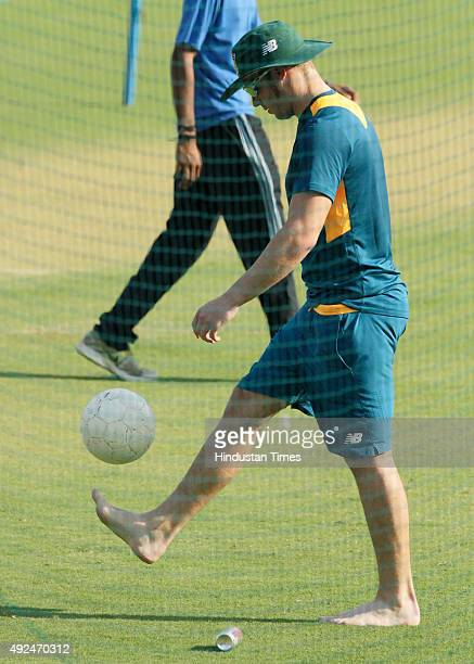 South African player David Miller during the practice session before the 2nd One Day cricket match against India at Ushabai Holkar Stadium on October...