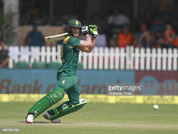 South African player Faf du Plessis in action during the first One Day International match between India vs South Africa at Green Park Stadium, on...