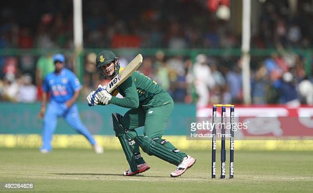 South African player Quinton de Kock in action during the first One Day International match between India vs South Africa at Green Park Stadium, on...