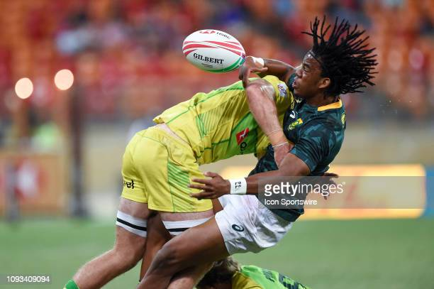 South African player Stedman Gans hit in a big tackle from Australian player Nick Malouf in the 5th place play-off between Australia and South Africa...