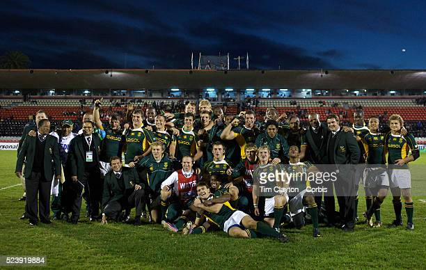 South African players after their victory during the England V South Africa third place play off match at Estadio El Coloso del Parque, Rosario,...
