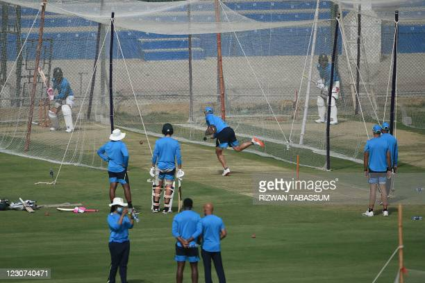 South African players attend a practice session at the National Stadium in Karachi on January 23 ahead of their first cricket test match against...