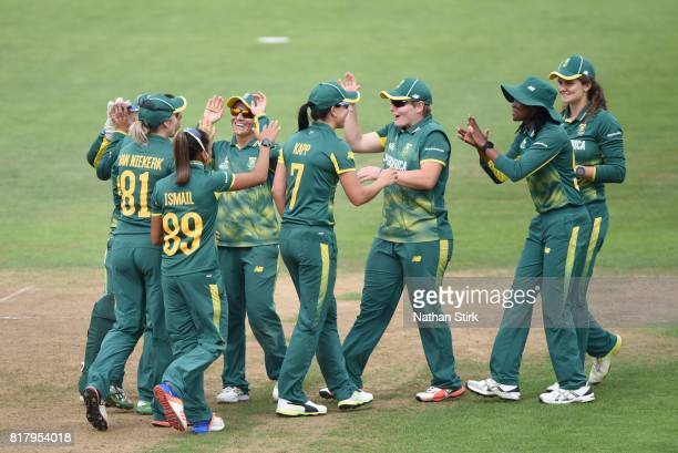 South African players celebrate after getting Heather Knight of England out during the SemiFinal ICC Women's World Cup 2017 match between England and...