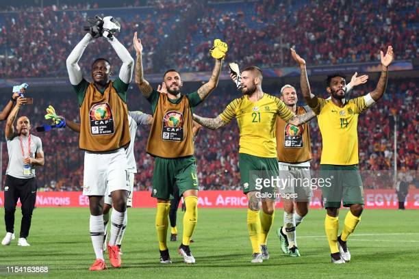 South African players celebrate after the African Cup of Nations, Last 16 match between Egypt and South Africa at Cairo International Stadium on July...