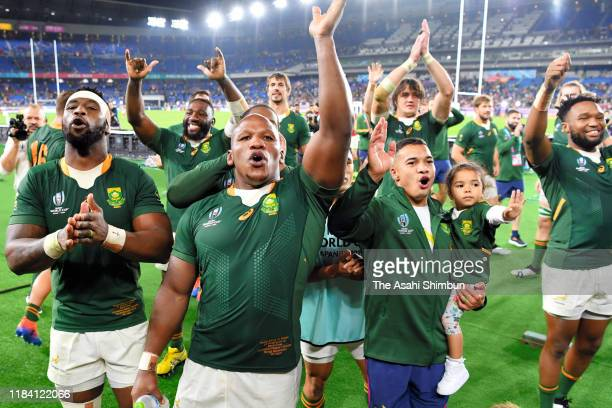 South African players celebrate after the Rugby World Cup 2019 SemiFinal match between Wales and South Africa at International Stadium Yokohama on...