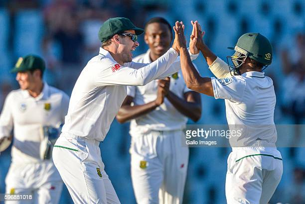 South African players celebrate during day 2 of the 2nd Sunfoil International Test match between South Africa and New Zealand at SuperSport Park on...