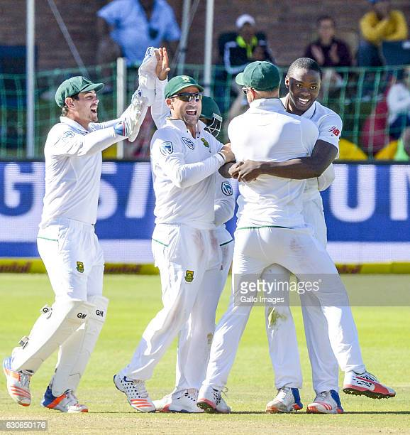 South African players celebrate during day 4 of the 1st Test match between South Africa and Sri Lanka at St George's Park on December 29 2016 in Port...