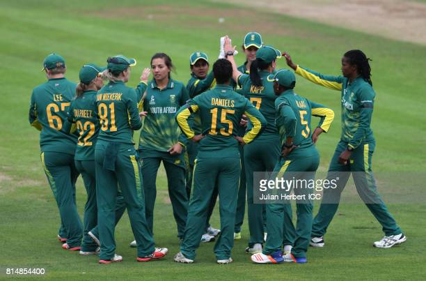 South African players celebrate the wicket of Ellyse Perry of Australia during The ICC Women's World Cup 2017 match between South Africa and...