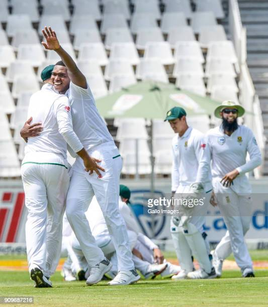 South African players celebrate with Lungi Ngidi for the dismissal of captain Virat Kohli of India during day 1 of the 3rd Sunfoil Test match between...
