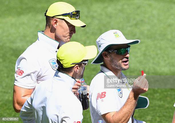 South African players have lollies during the drinks break during the One Day International tour match between Victoria and South Africa at Melbourne...