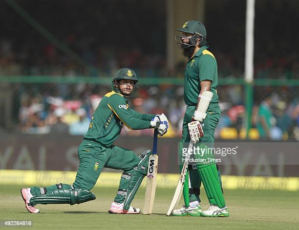 South African players Quinton de Kock and Hashim Amla during the first One Day International match between India vs South Africa at Green Park...