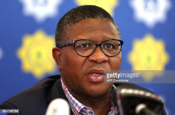 South African Police minister Fikile Mbalula gives a press briefing on September 26 2017 in Johannesburg South Africa after a group of 36 elderly...