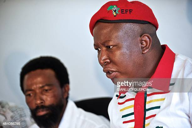 South African political party Economic Freedom Fighters president Julius Malema speaks during a meeting with Buyelekhaya Dalindyebo king of the...