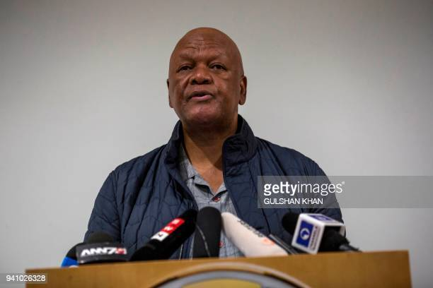 South African politician Jeff Hadebe speaks to the media at a press conference confirming the death of Winnie MadikizelaMandela at the Netcare...