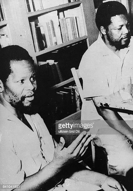 NELSON MANDELA South African president and Black political leader Mandela leader of the African National Congress in Addis Ababa Ethiopia with his...