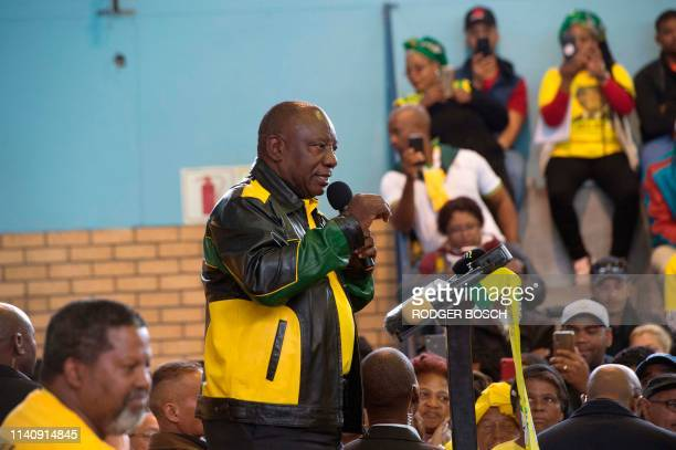 South African President and president of the ruling African National Congress , Cyril Ramaphosa, speaks during a campaign meeting in Mitchells Plain...