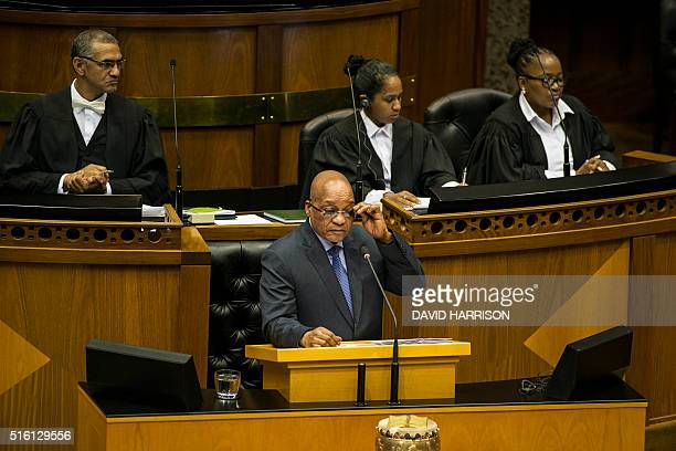 South African president and South African ruling party African National Congress leader Jacob Zuma answers questions from Parliament Members during a...