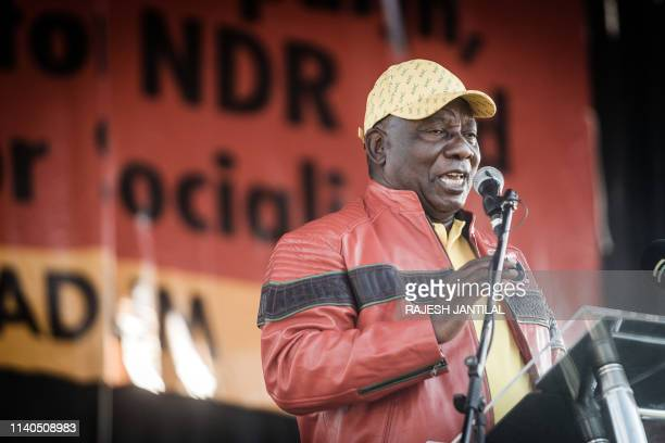 South African President Cyril Ramaphosa addresses thousands of Congress of South African Trade Unions workers South African Communist Party and...